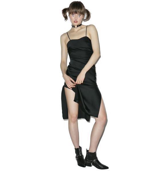 Dyspnea Black Gold Digger Midi Slip Dress