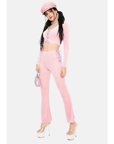 Stylish Sass Velour Pant Set