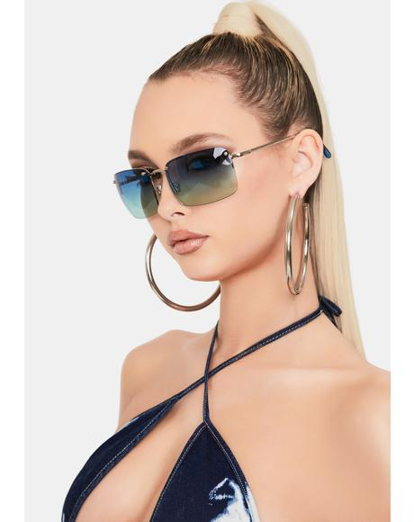 Hello 2000s Blue Ombre Sunglasses