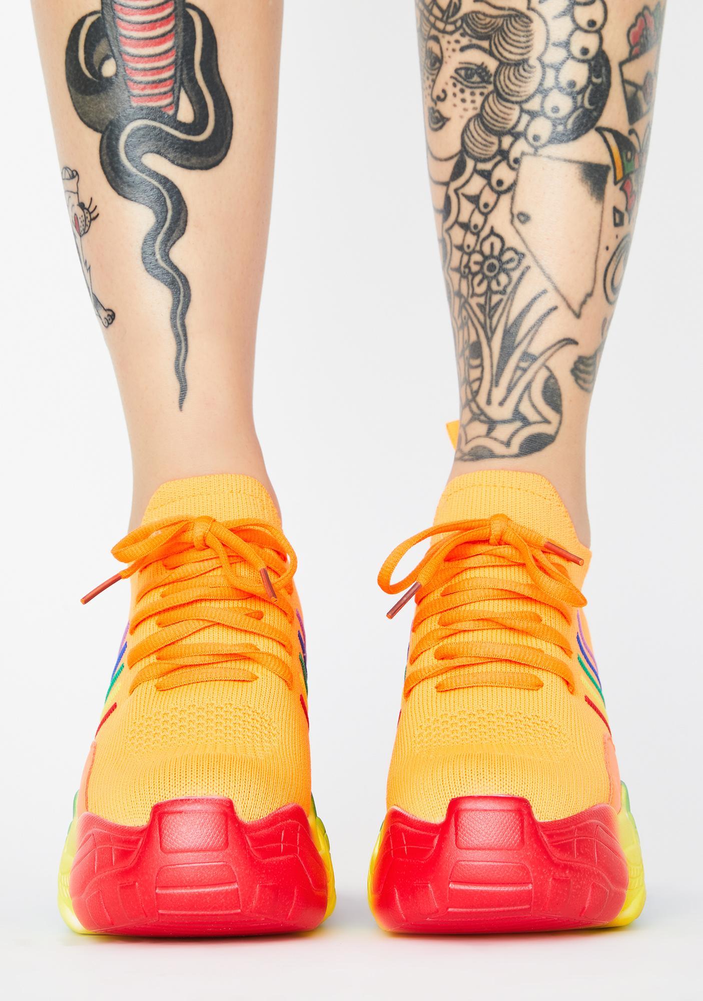 Anthony Wang Orange Euphoria Ecstasy Platform Sneakers
