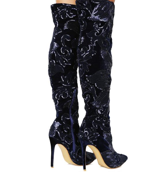 Renee Sequin Thigh-High Boots