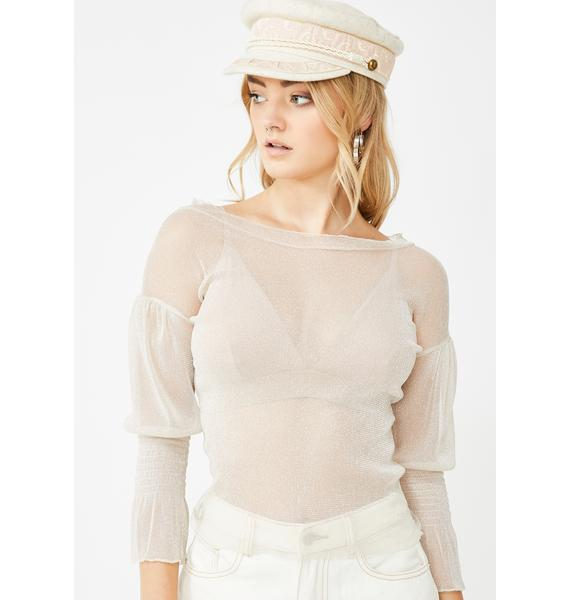 Momokrom Creamy Glitter Cinched Sleeve Top