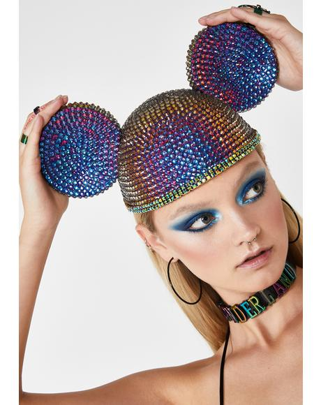 Oil Slick Crystal Ears Hat