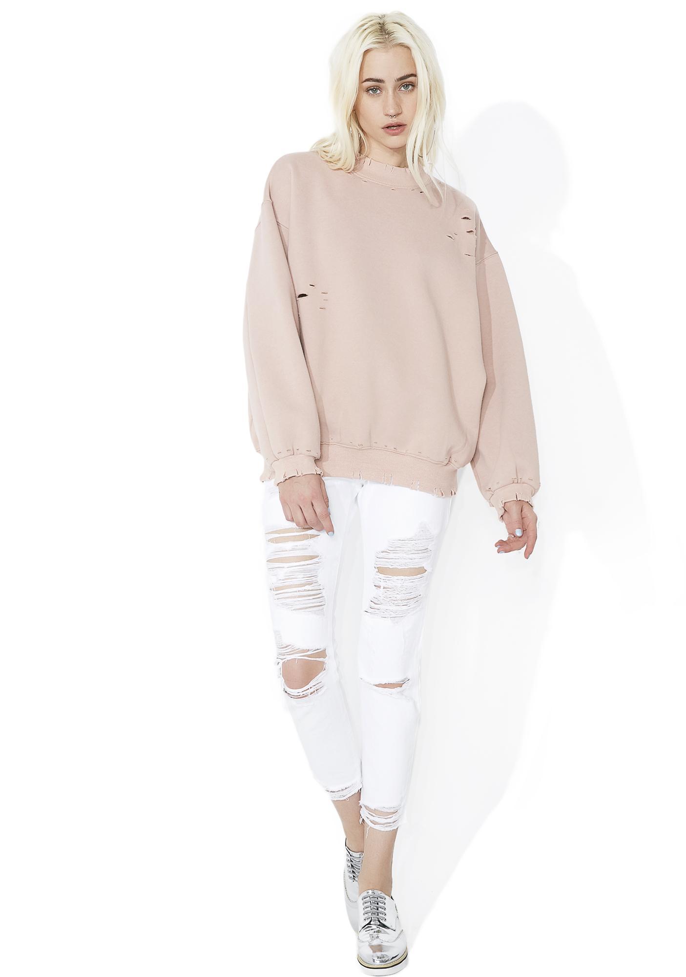Blush Fade Away Distressed Sweatshirt