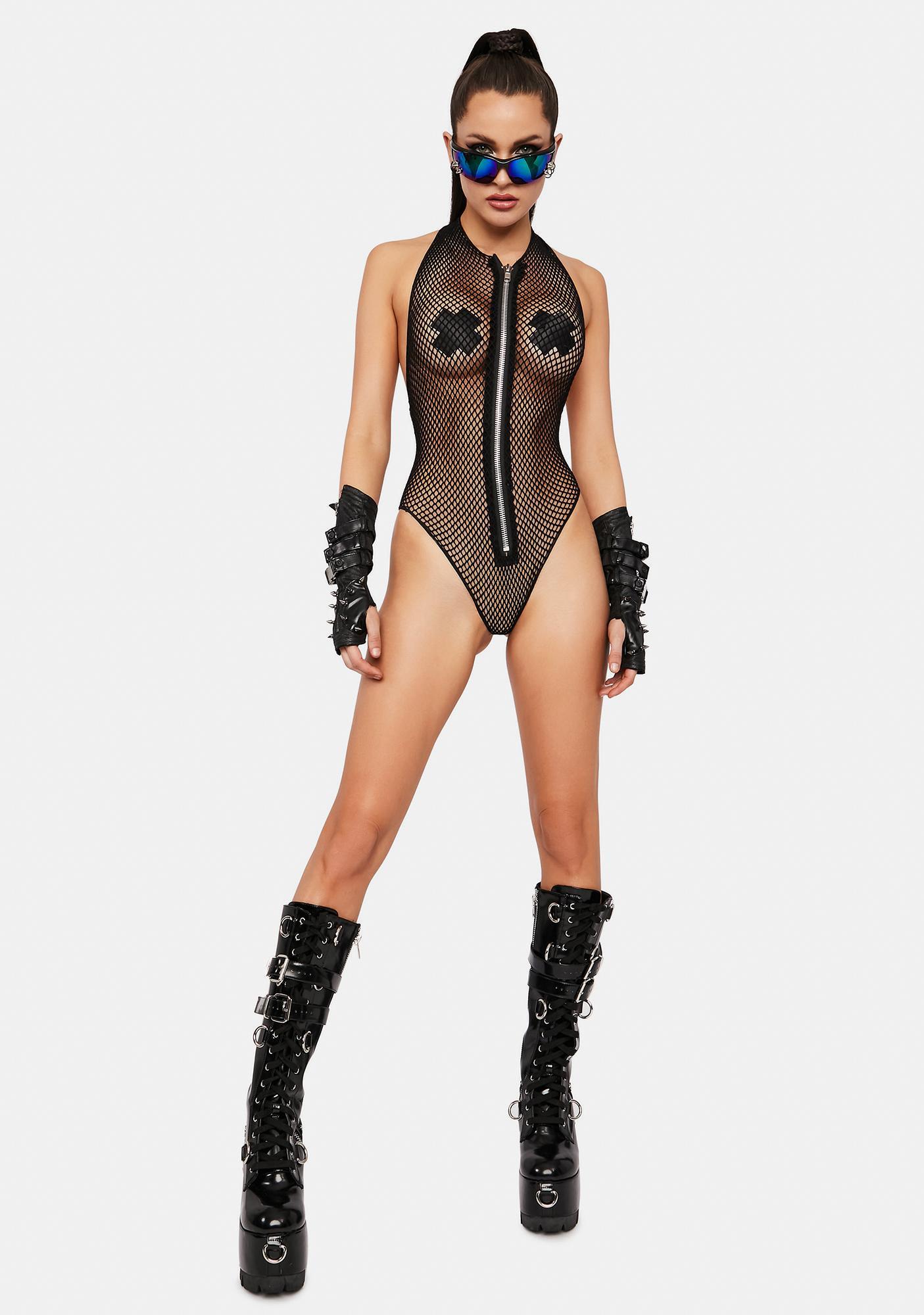 Worth The Risk Fishnet Bodysuit