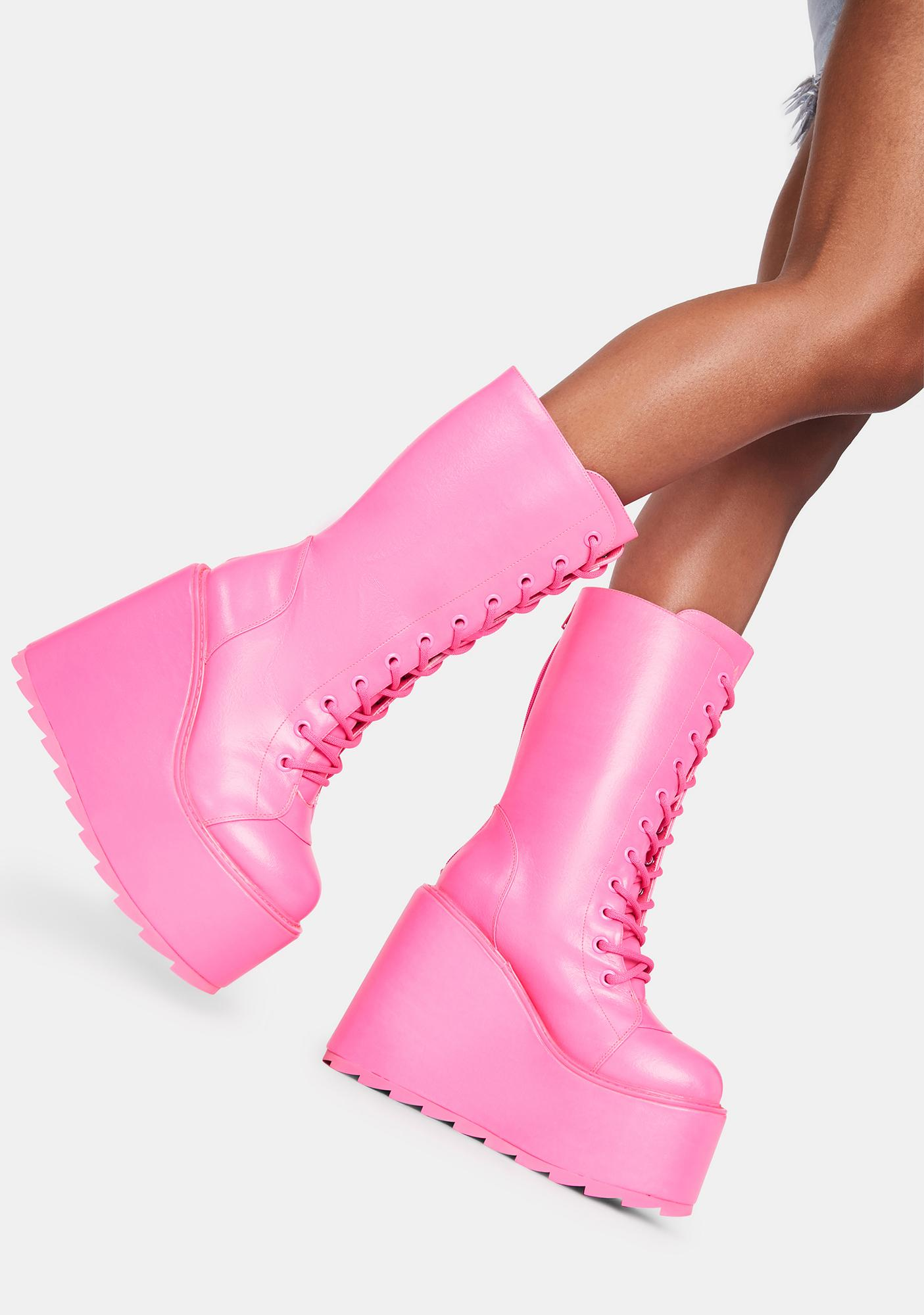 Y.R.U. Hot Pink Dune Lace Up Boots