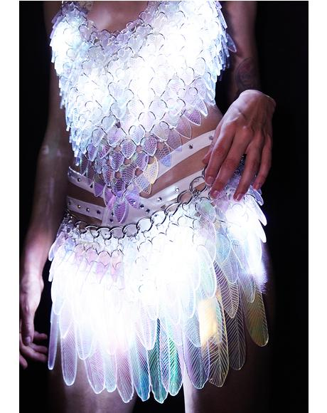 Illuminated Iridescent Tail Feather Skirt