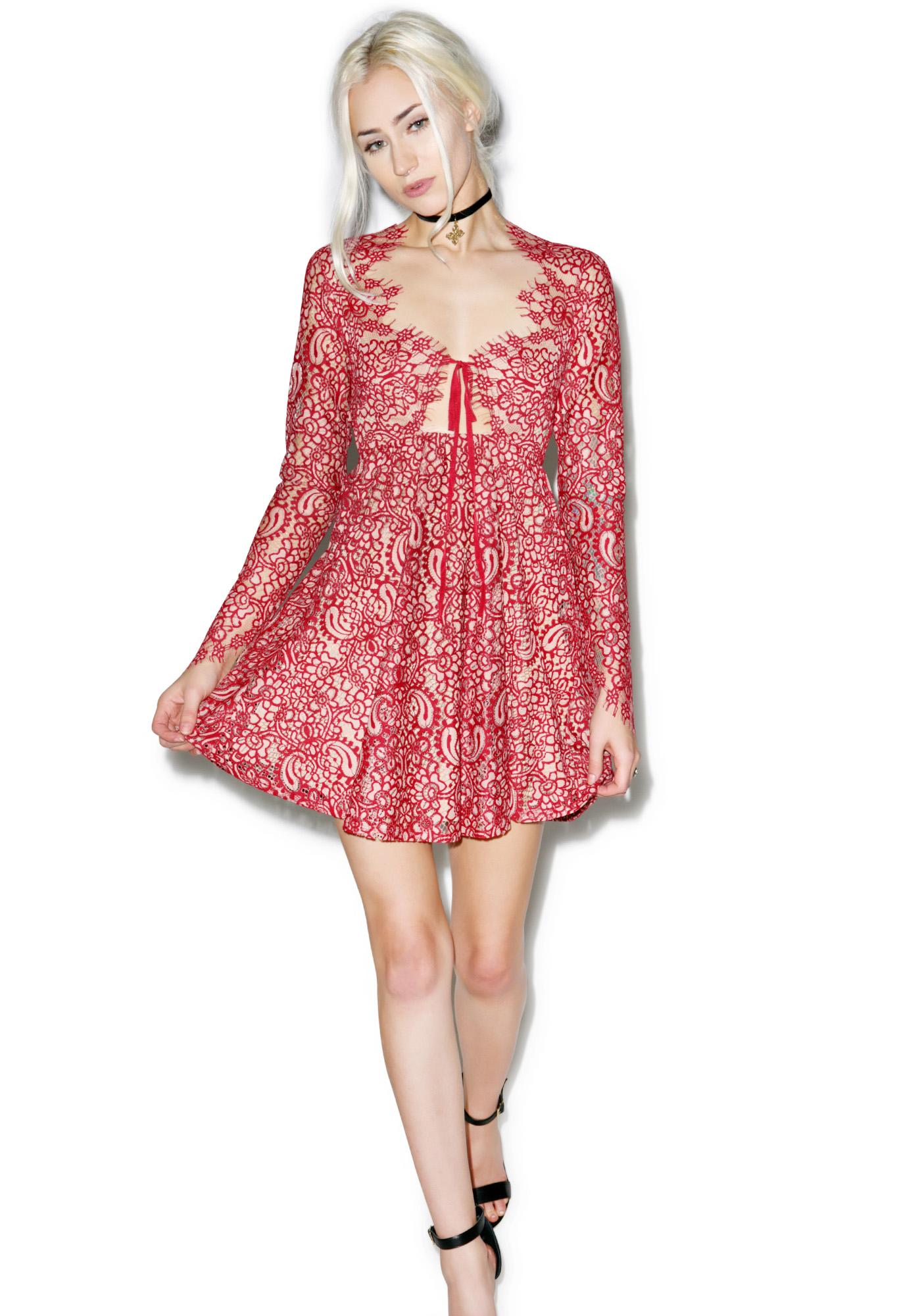 For Love & Lemons Deep Charlie Mini Dress