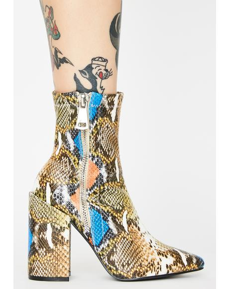 Renzo Snakeskin Ankle Boots