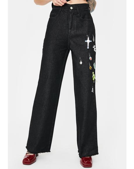 Black Baggy Wide Leg Jeans