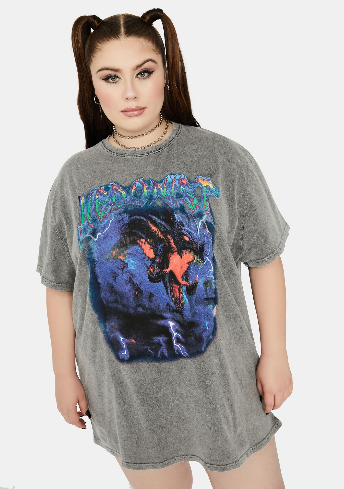 NEW GIRL ORDER Curve Hedonist Washed Oversized Tee
