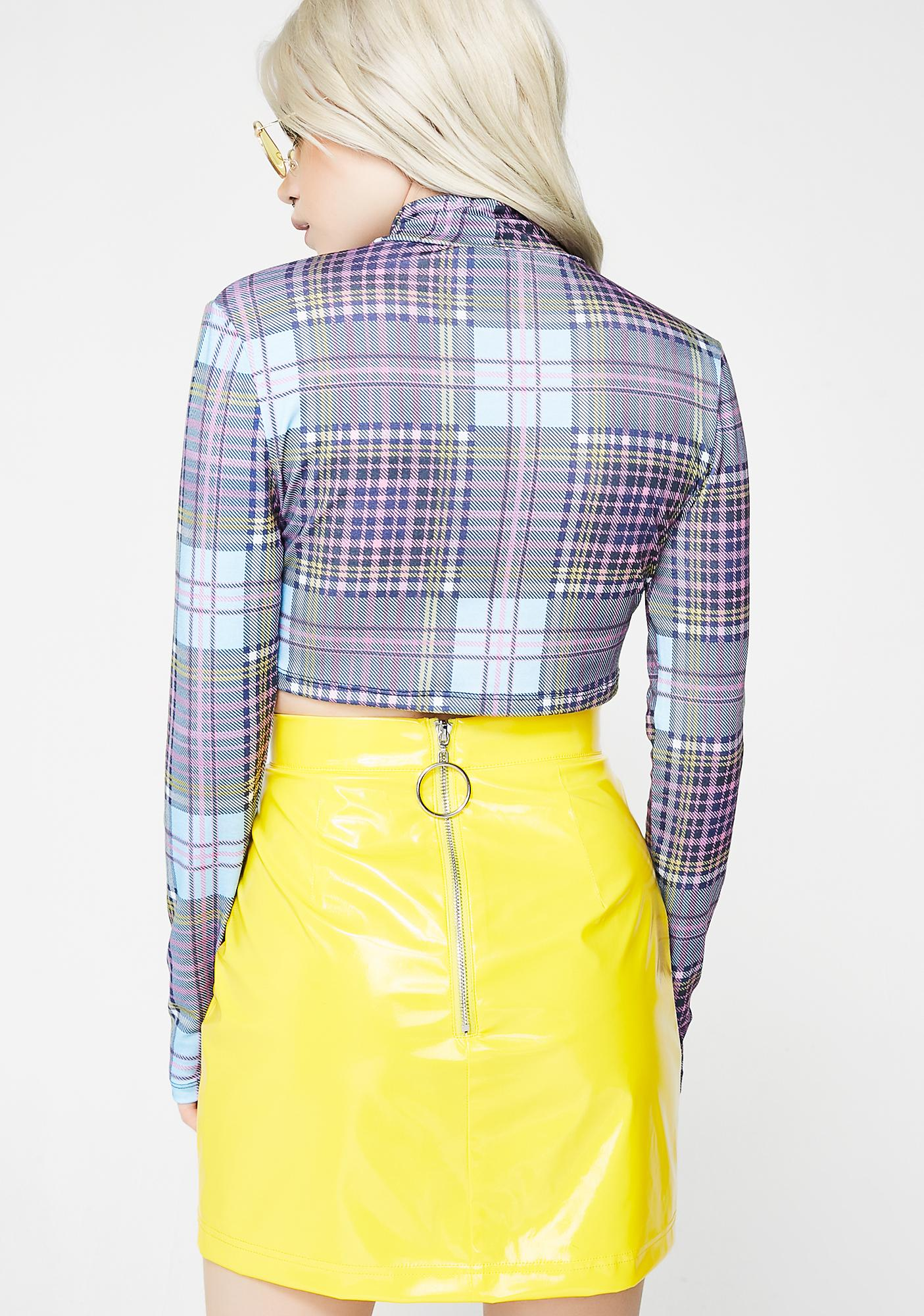 Illustrated People Tartan Crop Top