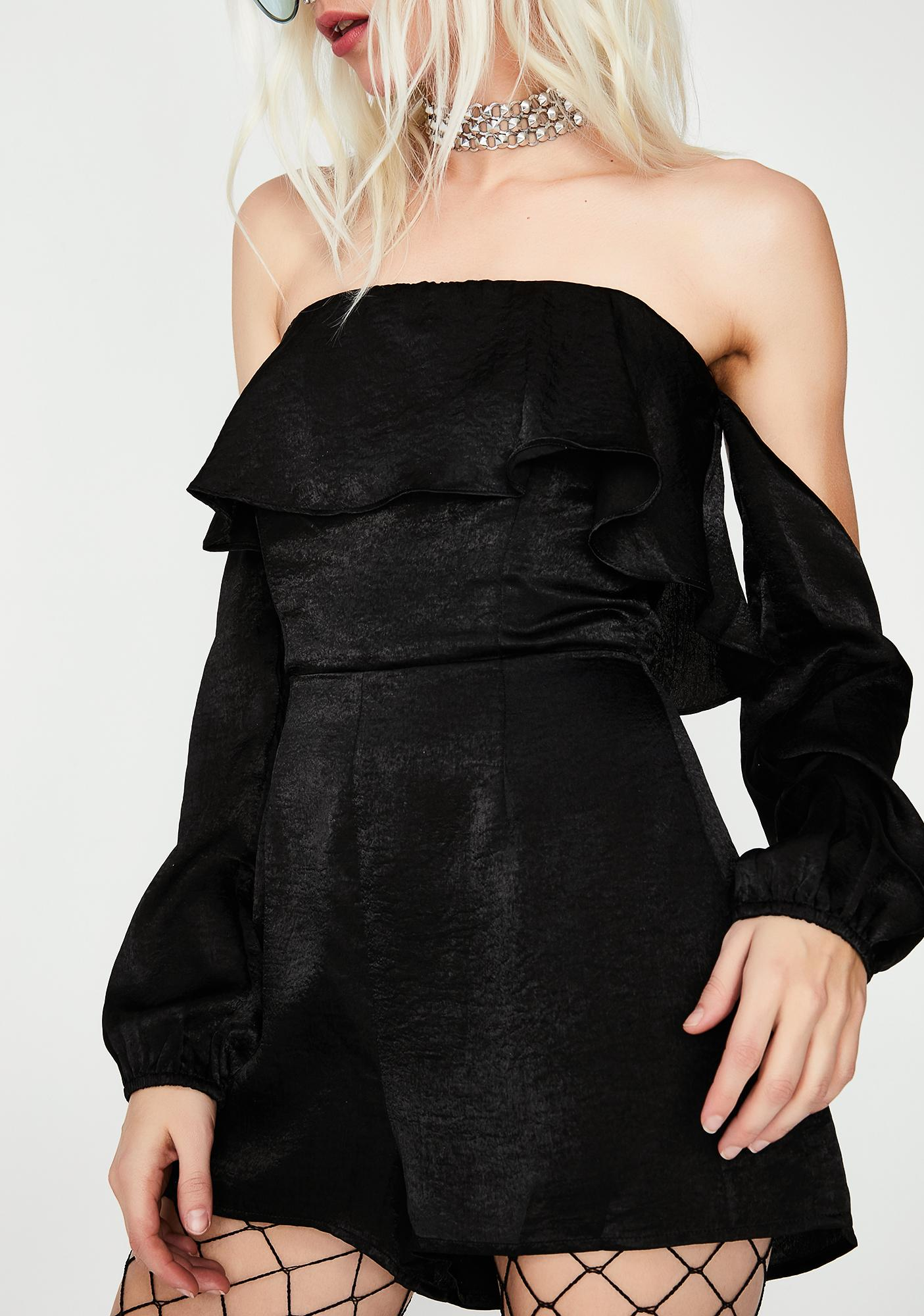 Onyx In Your Dreams Off-Shoulder Romper