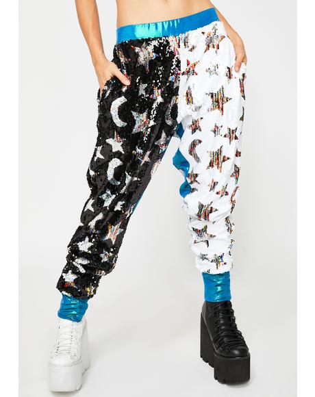 Star & Moon Flip Sequin Joggers