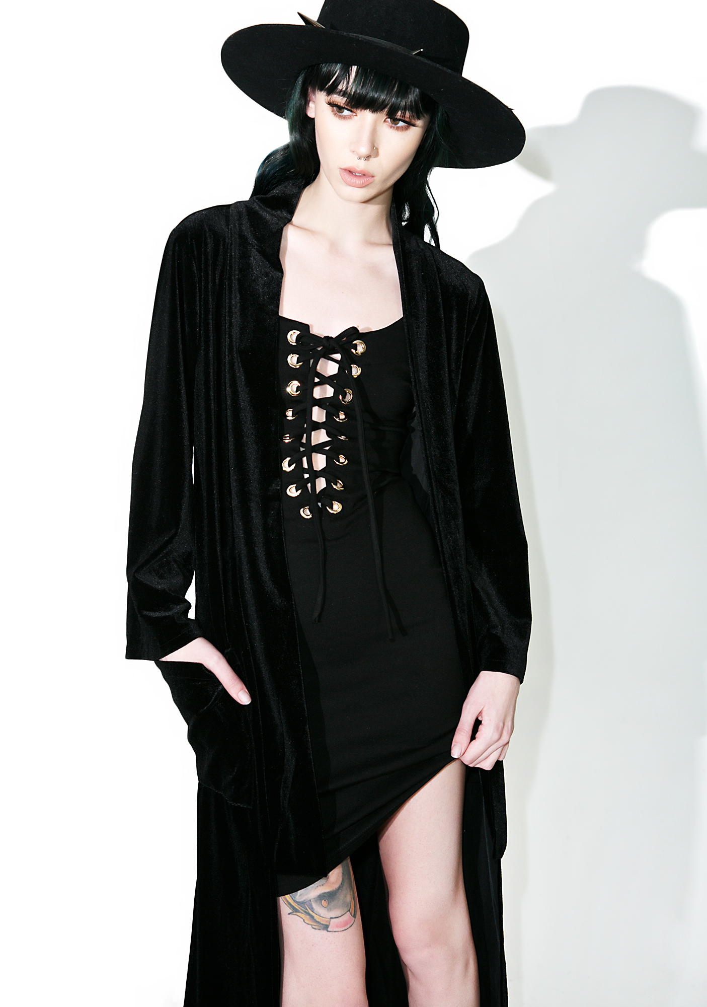 Long Black Velvet Open Kimono
