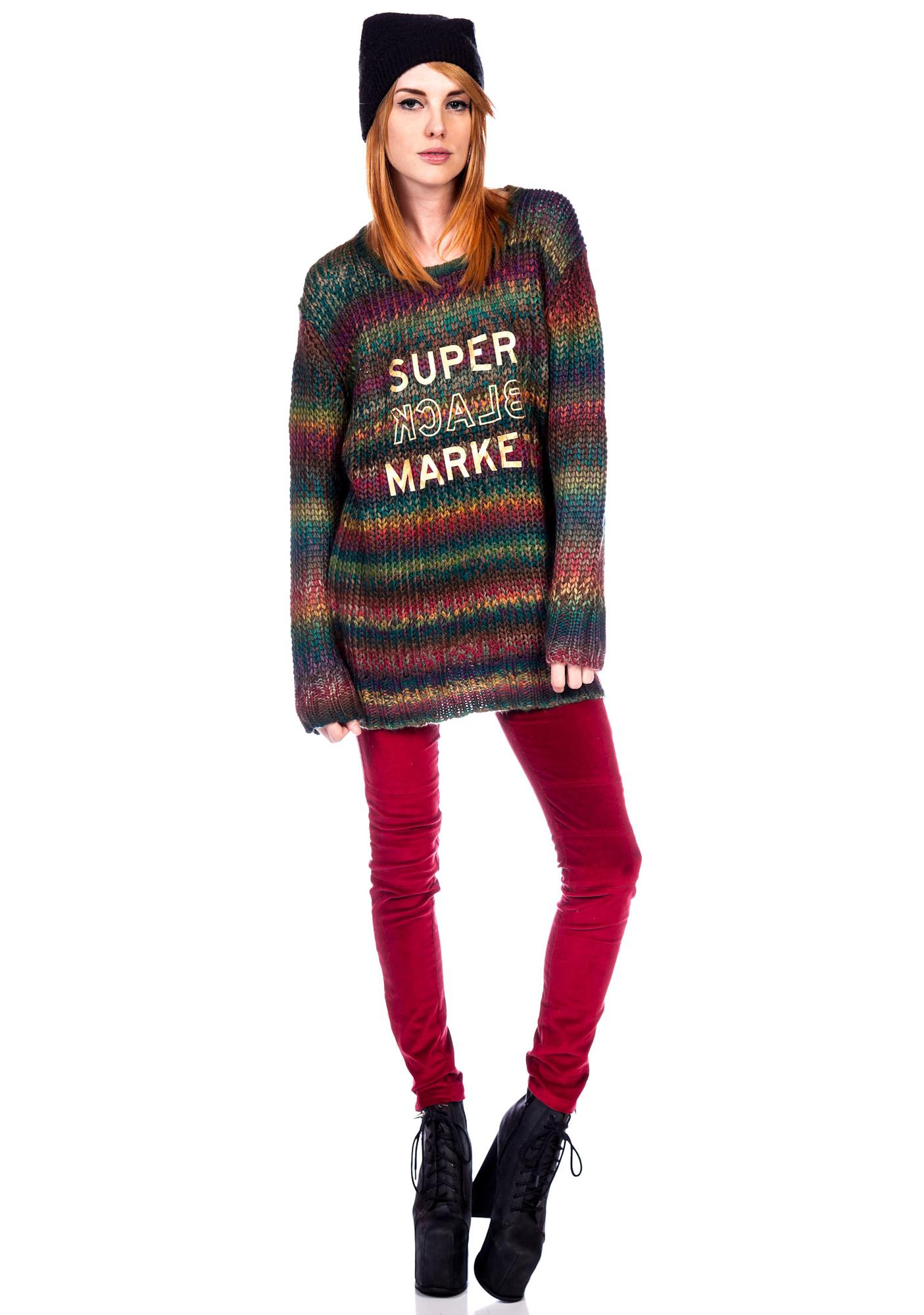 Halfman Romantics Rainbow Knit Crew Sweater