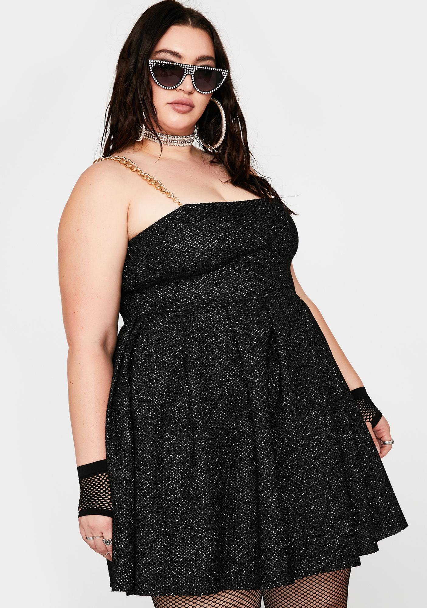 NEW GIRL ORDER Plus Glitter Chain Strap Dress