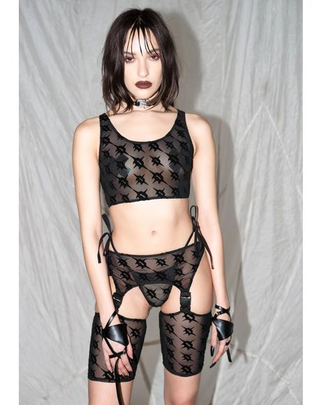 Synth Logo Print Mesh Thong And Chaps Set