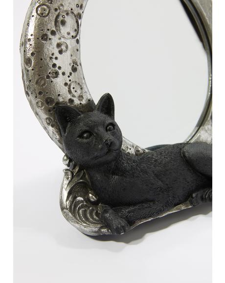 Black Cat Crescent Mirror Frame
