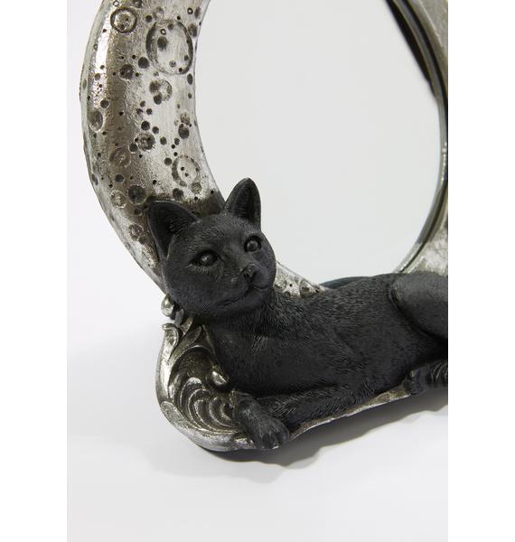 Alchemy England Black Cat Crescent Mirror Frame