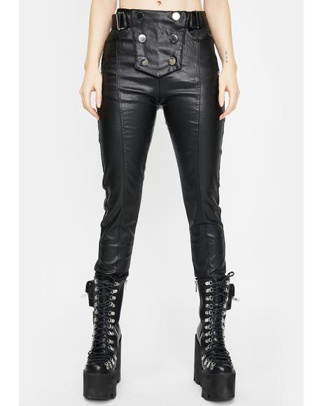 Military Vegan Leather Skinny Pants