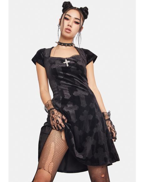 Cross My Heart Velour Dress