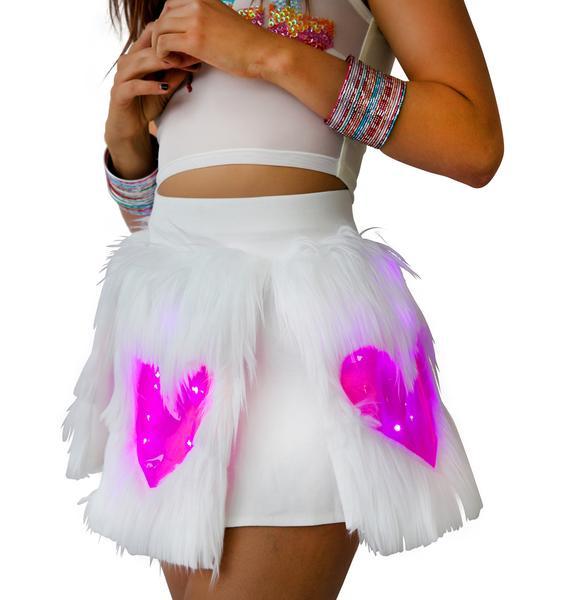J Valentine Heart Window Fur Light Up Skirt