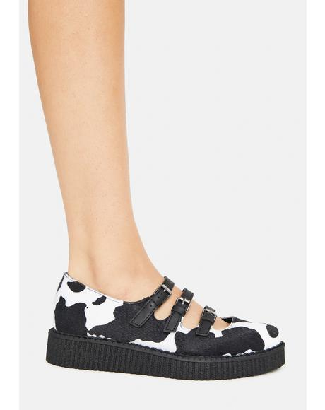 Cow Print 3 Strap Mary Jane Creepers