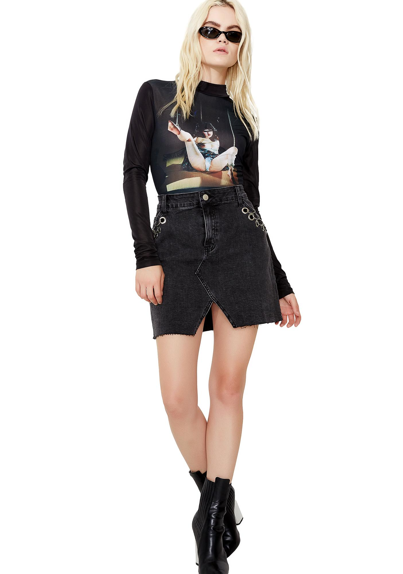 Glamorous Pierced Up Pocket Denim Skirt