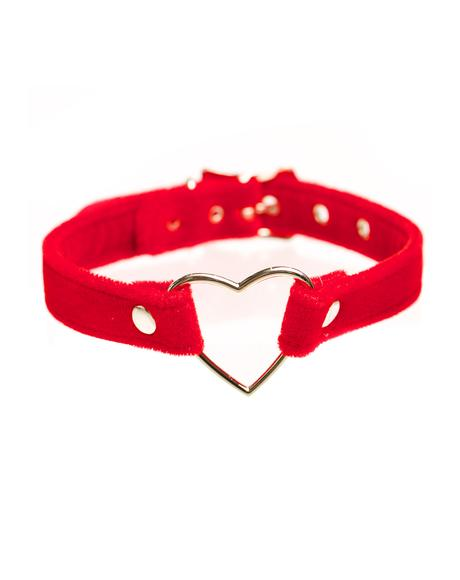 Red Velvet Heart Choker