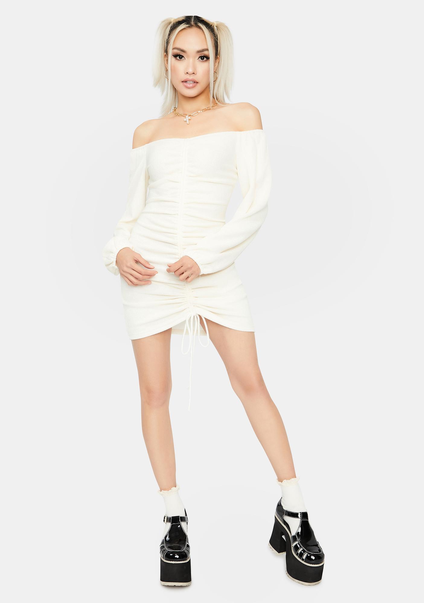 Ivory Seasonal Sass Ruched Dress