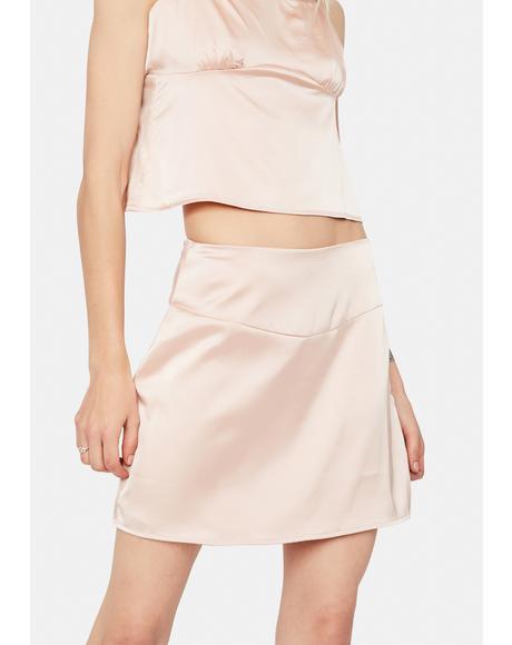 Destiny's Kiss Satin Mini Skirt