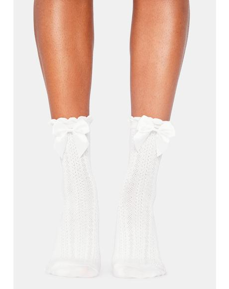 Cream Puff Bow Socks