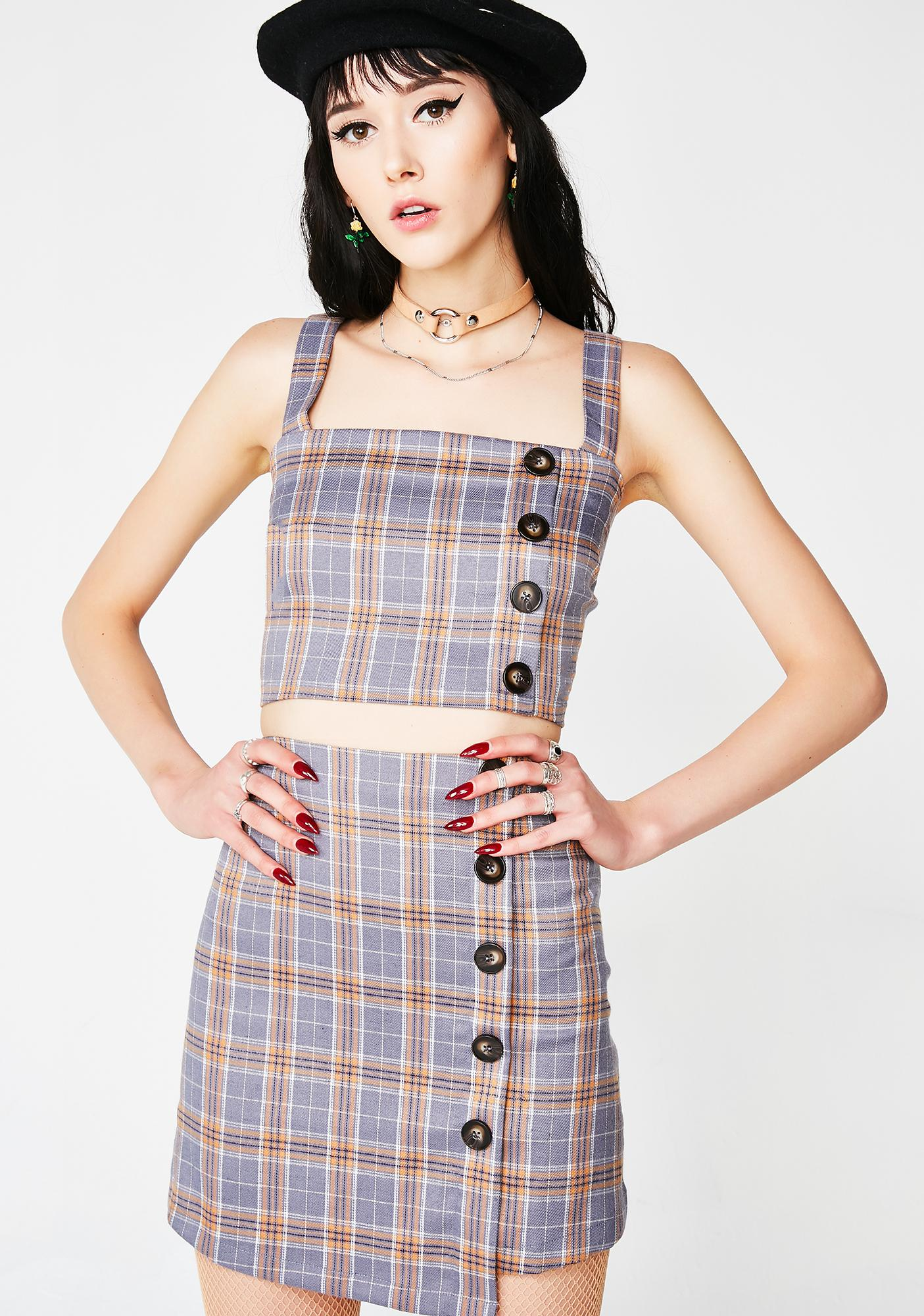 Line In A Song Plaid Set