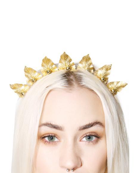 Olive Brass Leaf Crown