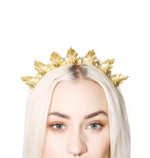 Rock n Rose Olive Brass Leaf Crown