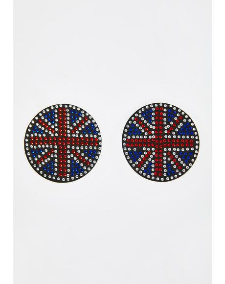 Union Flag Rhinestone Reusable Pasties