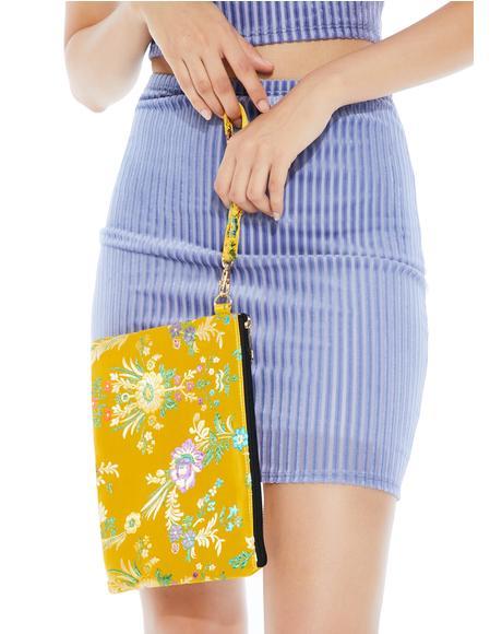 Sunny In Bloom Brocade Wristlet