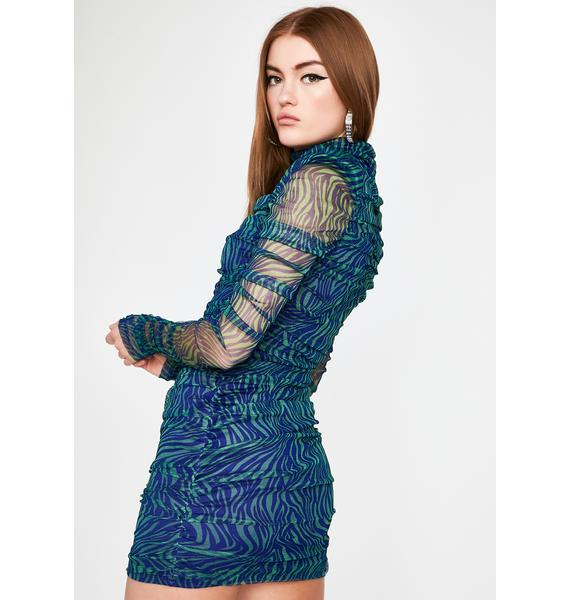 Aqua Primed To Pounce Ruched Dress