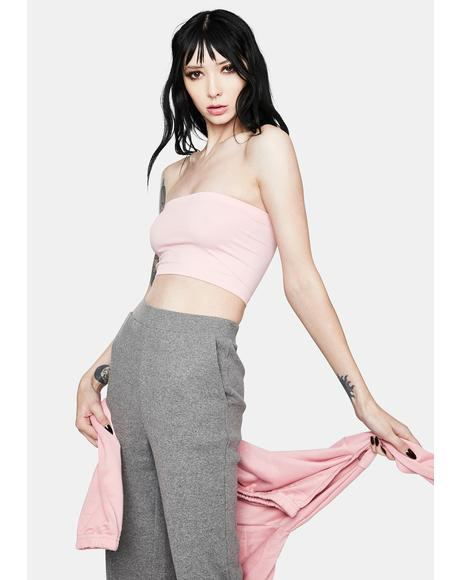 Rose Plush Love Cropped Tube Top