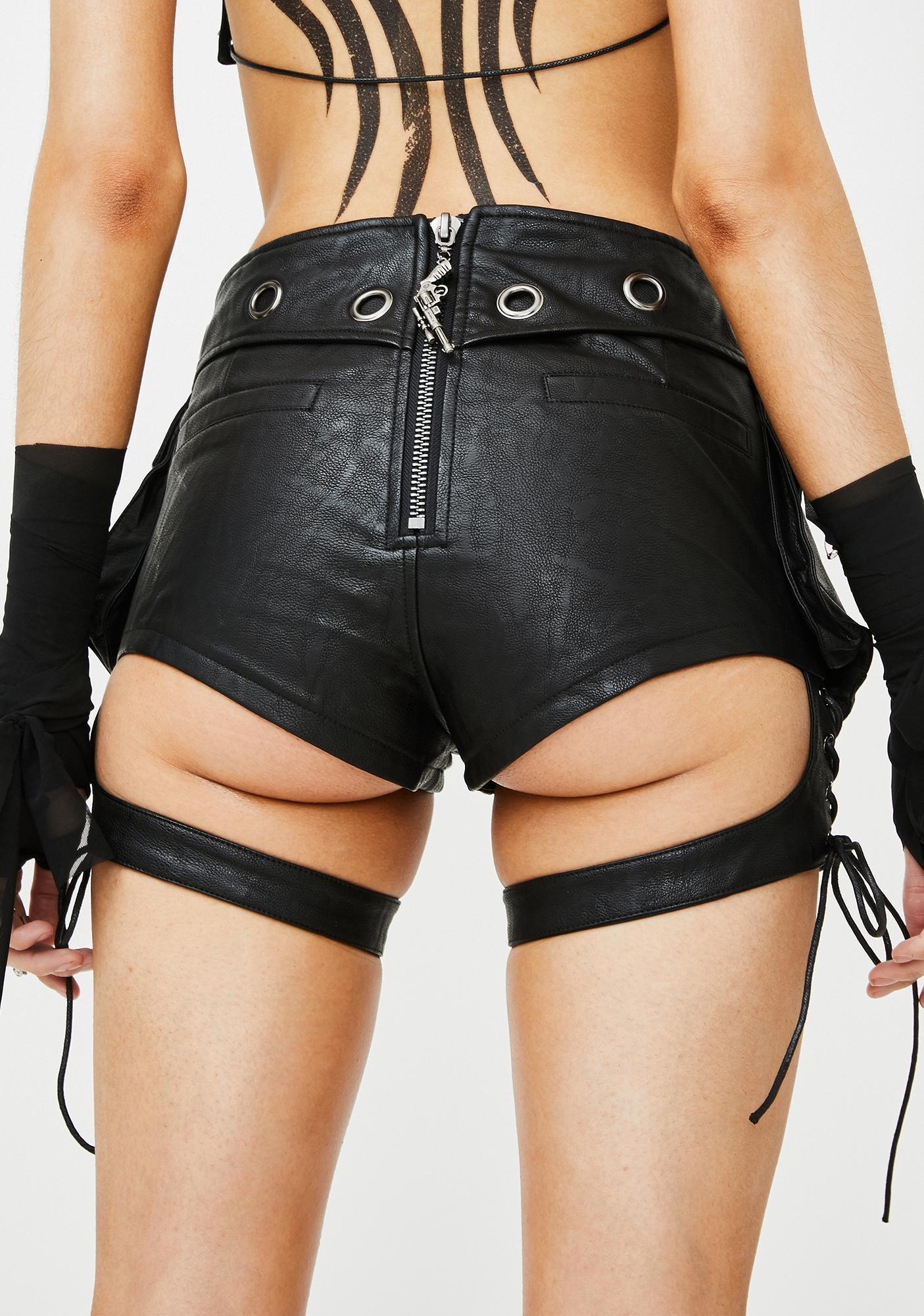 Punk Rave Lace-Up Garter Bag Shorts
