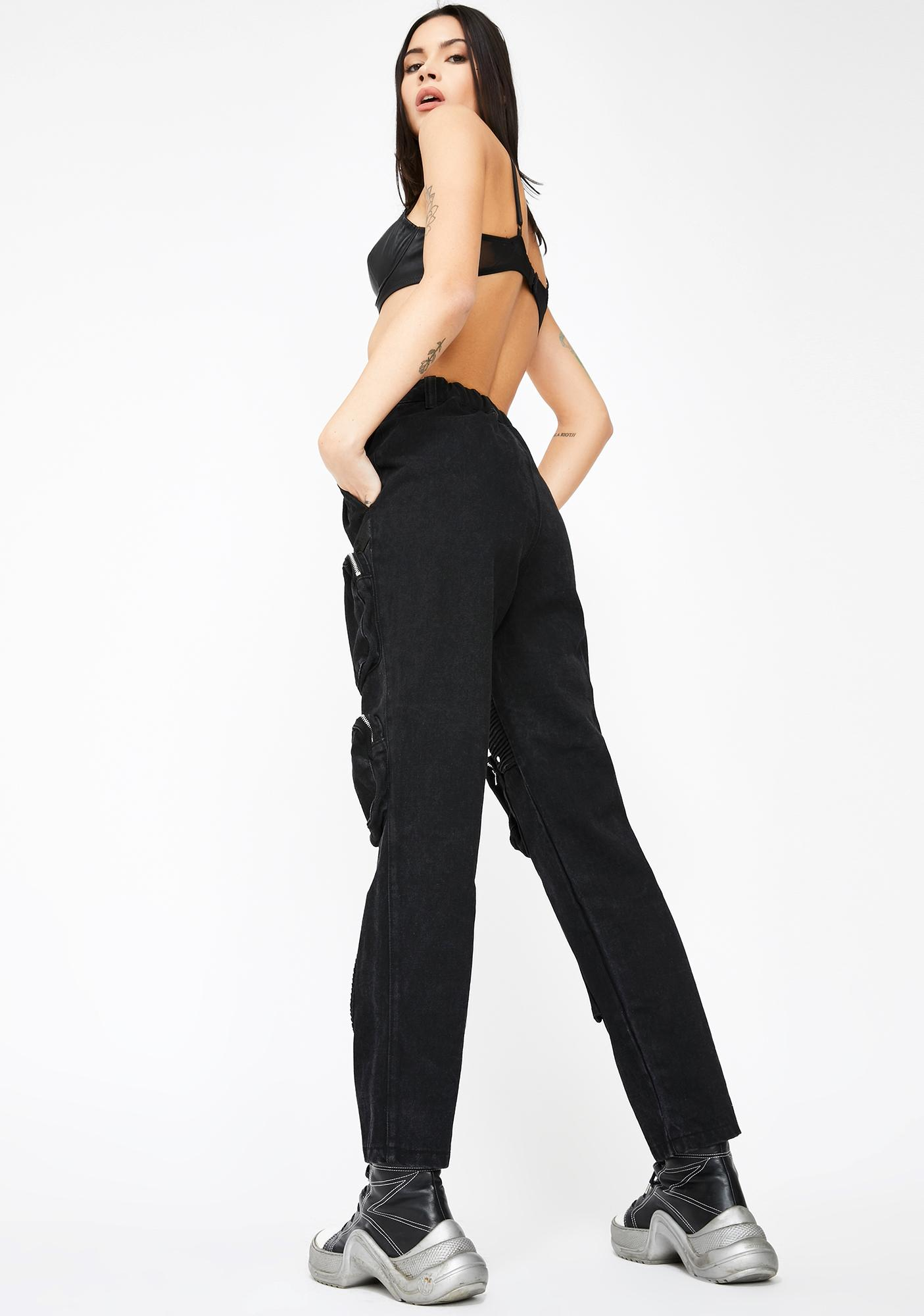 Jaded London Black Cargo Jeans With Round Pocket Detail