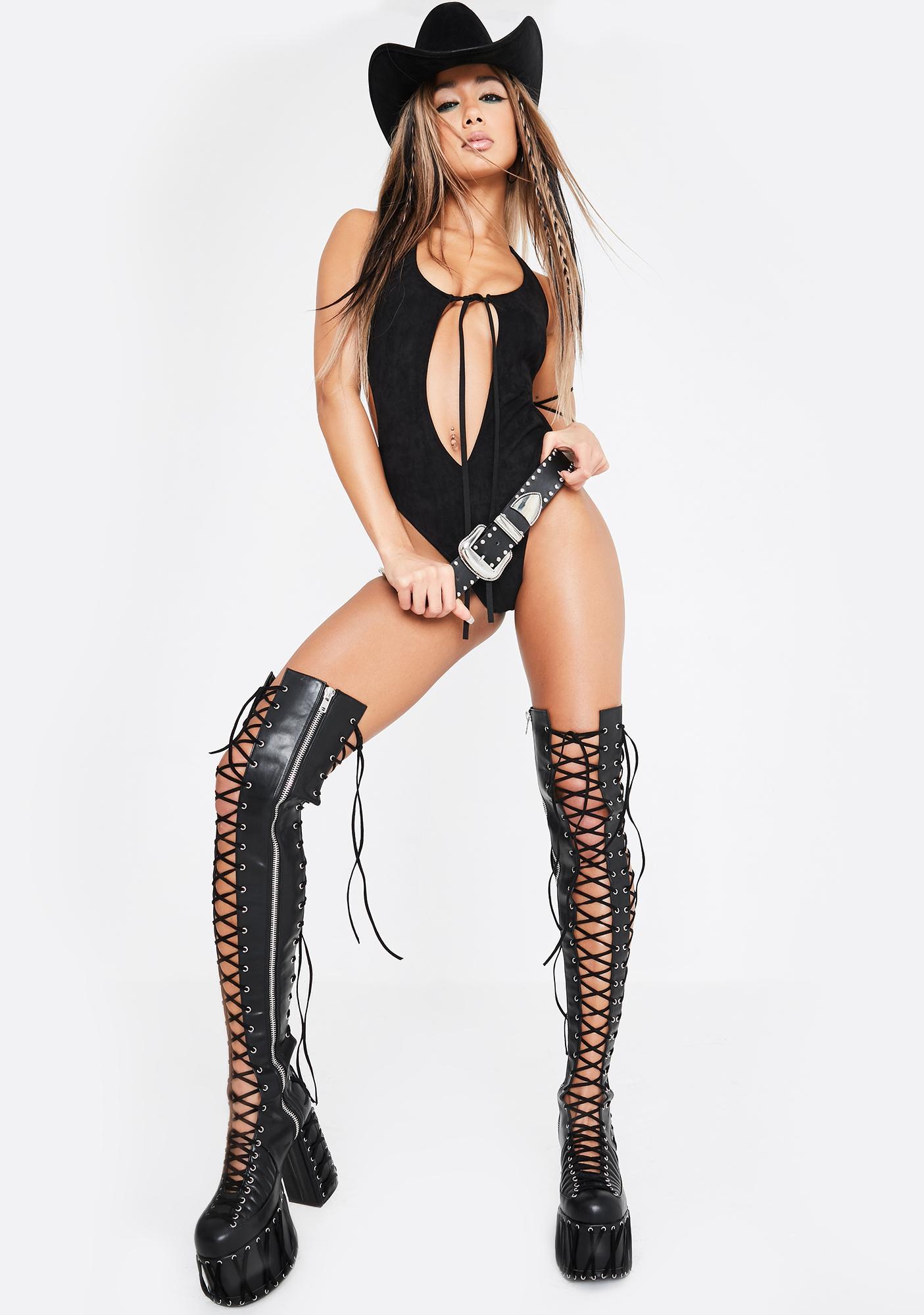 Club Exx Cowgirl Crusader Suede Bodysuit