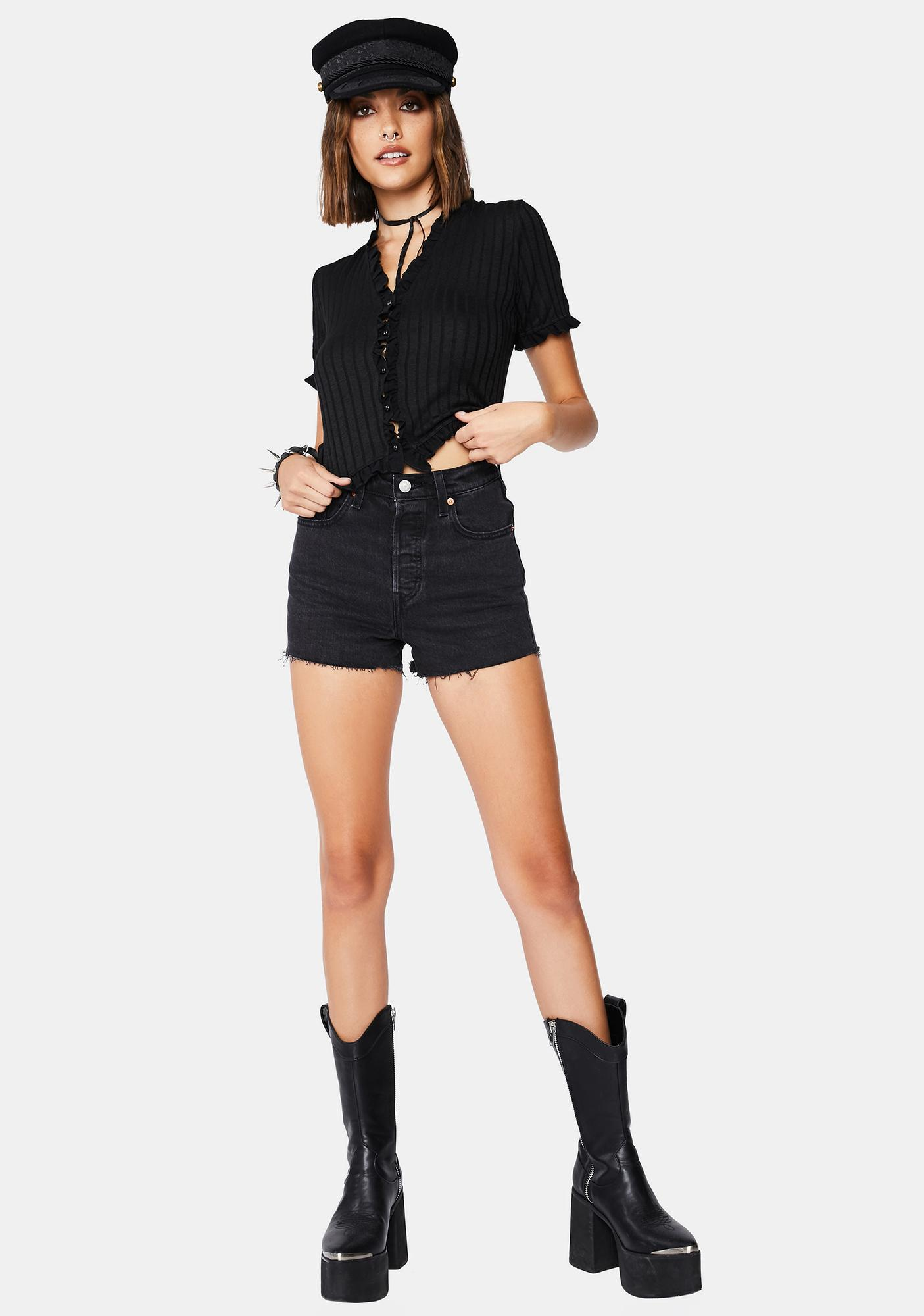 Levis Black Bayou Ribcage Denim Shorts