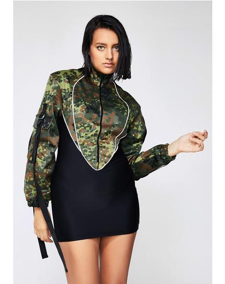 Camo Jacket Stretch Dress