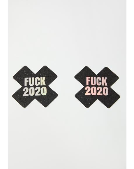 Fuck 2020 Black Glitter Pasties