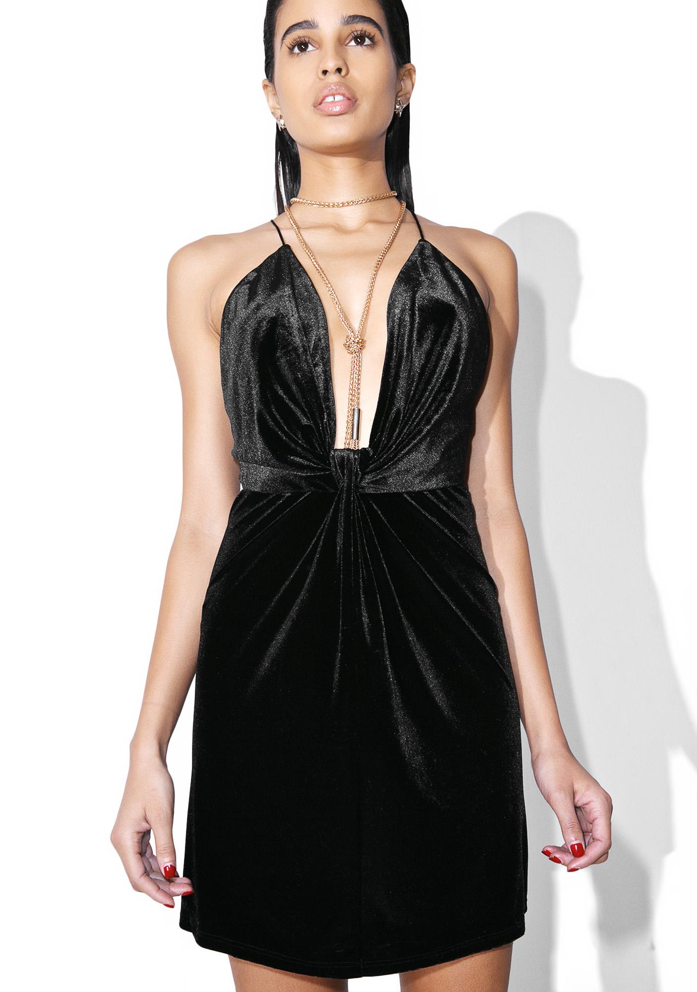 Sexy Black Velvet Mini Dress