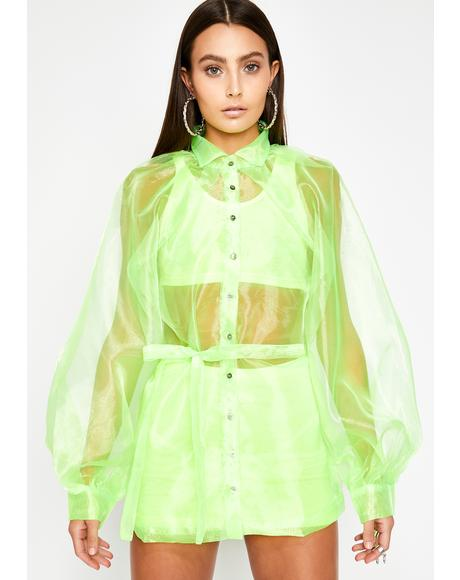 Lush Mainstream Montage Organza Blouse