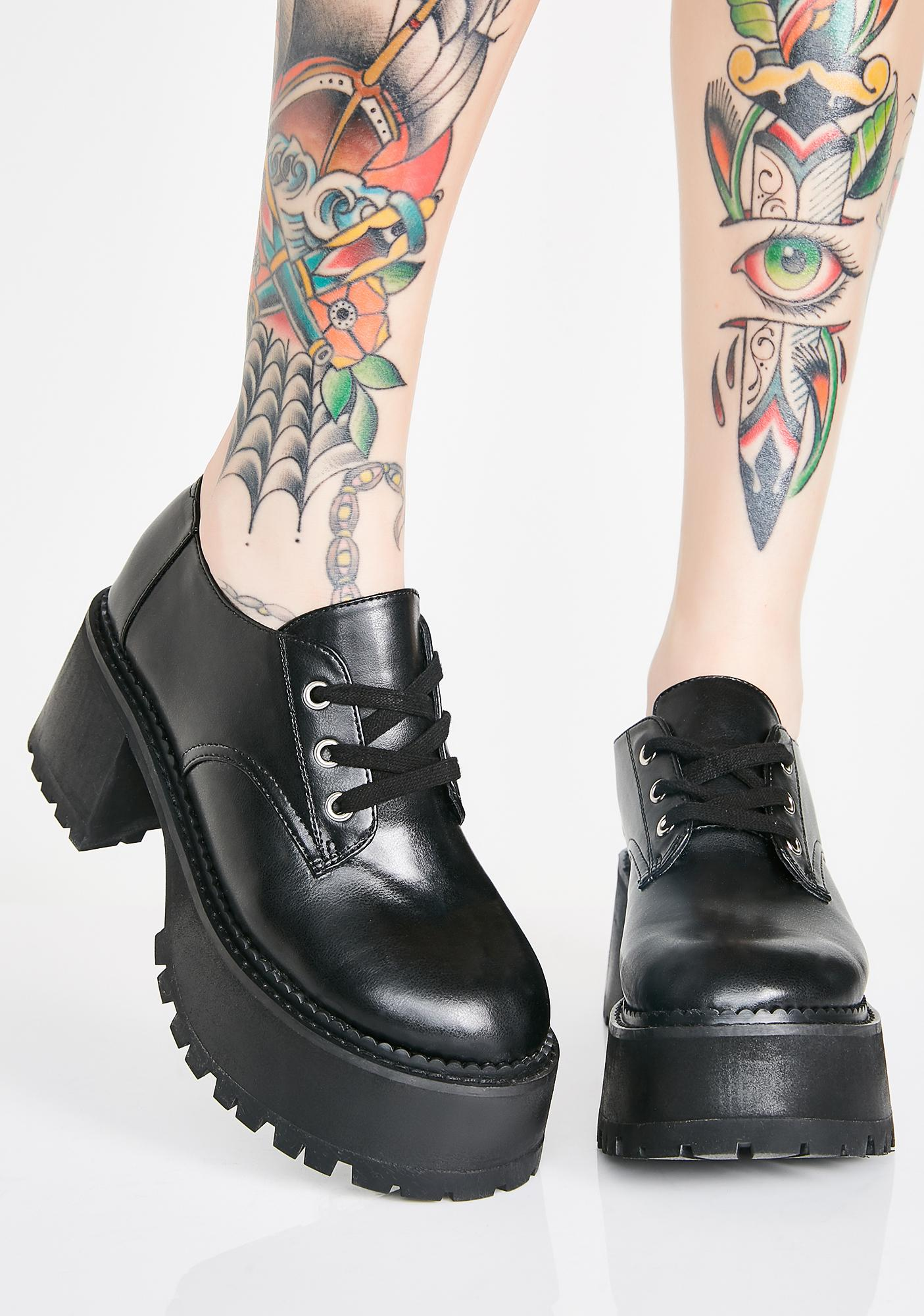 Current Mood Midnight High School Hellcat Chunky Platforms