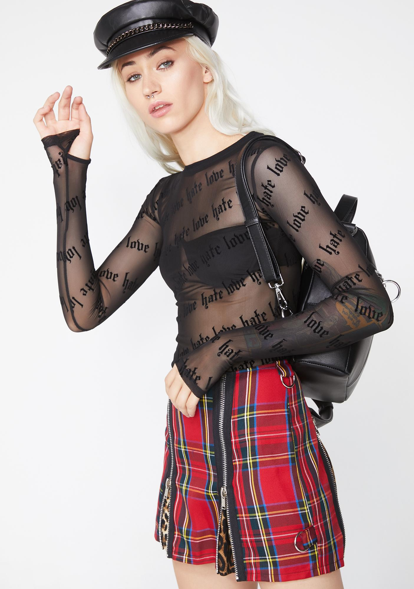 Current Mood Hate Love You Mesh Top